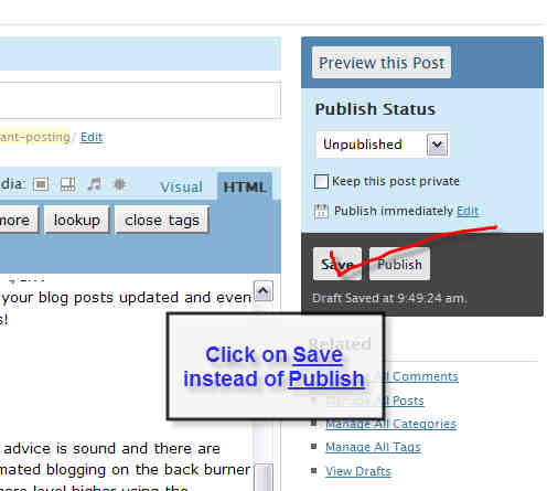 Save Post as Draft in wordpress blogging advice